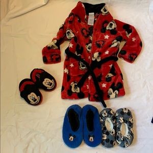 Other - 3T Mickey Mouse robe with bonus slippers!!